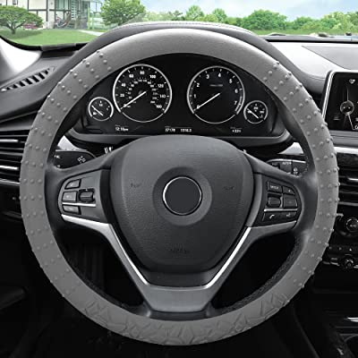 FH Group FH3002GRAY Gray Steering Wheel Cover (Silicone W. Nibs & Pattern Massaging grip Wheel Cover Color -Fit Most Car Truck Suv or Van): Automotive