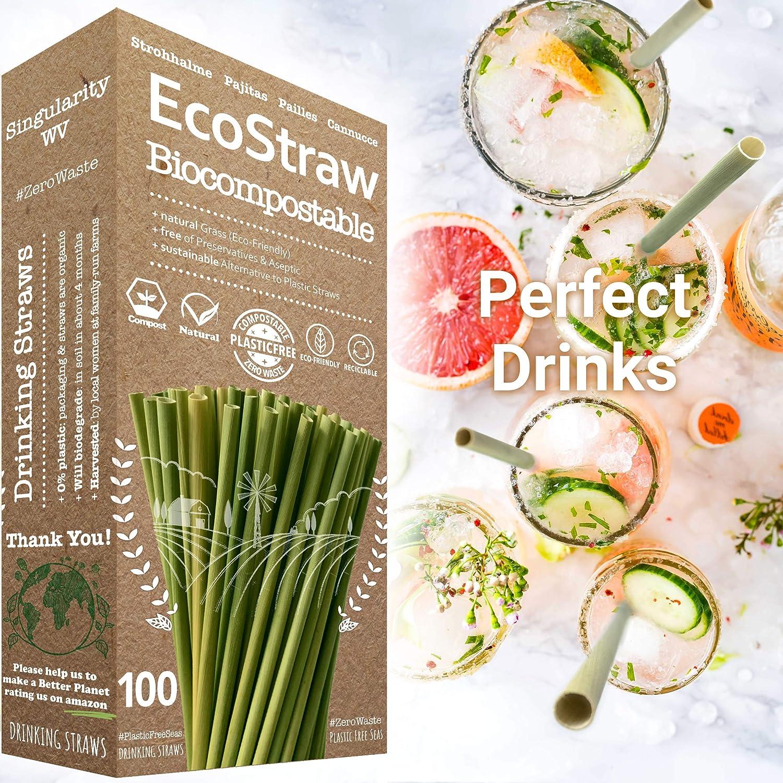 Pajitas Biodegradables | Pajitas Reutilizables — SET de 100 ...