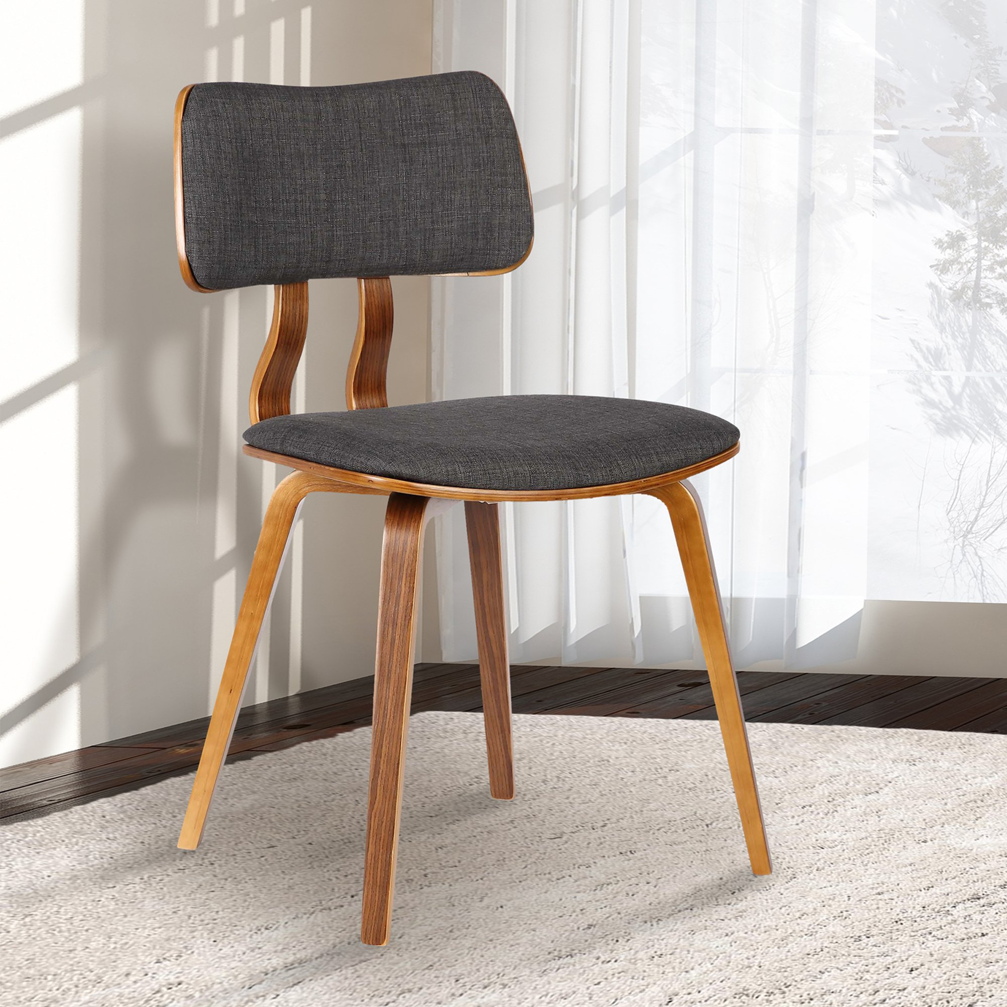 Armen Living LCJASIWACH Jaguar Dining Chair in Charcoal Fabric and Walnut Wood Finish by Armen Living