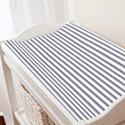 Carousel Designs Windsor Navy Ticking Stripe Changing Pad Cover - Organic 100% Cotton Change Pad Cover - Made in the USA