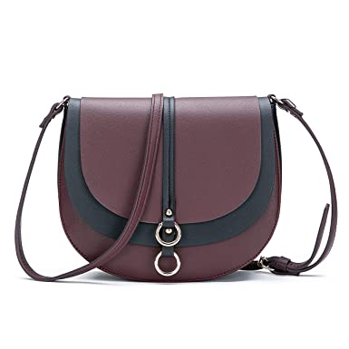 AFKOMST Women Crossbody Bag Saddle Shoulder Bag Small Purse Red Hasp Satchel and Tote PU Leather