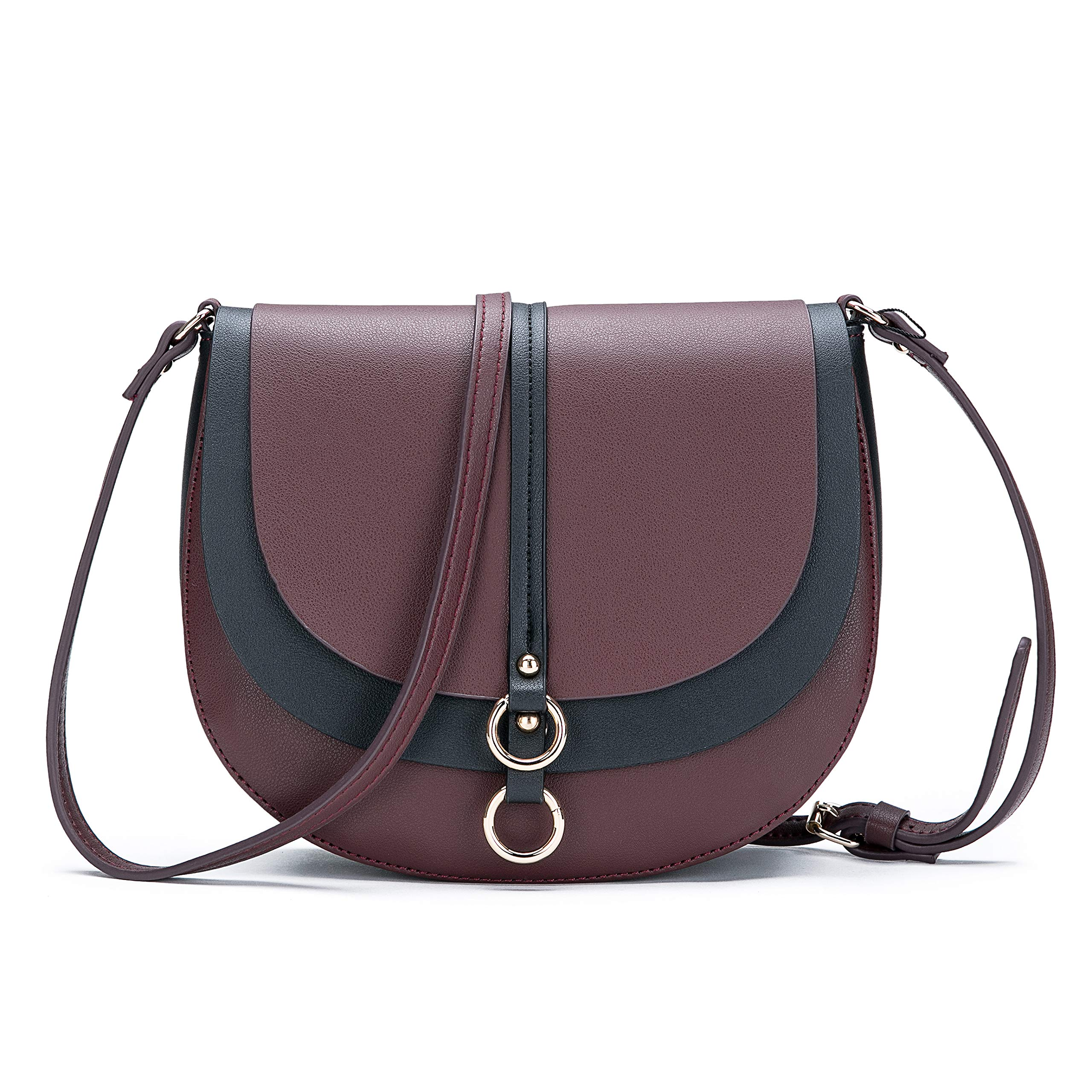 Women Crossbody Bag Saddle Shoulder Bag Small Purse Brown Hasp Satchel and Tote PU Leather