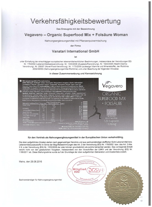 Superfood Mix + Ácido Fólico | 120 cápsulas | mezcla de 17 superalimentos orgánicos | Espirulina - Matcha - Moringa - Cúrcuma - Espinacas - Spirulina ...