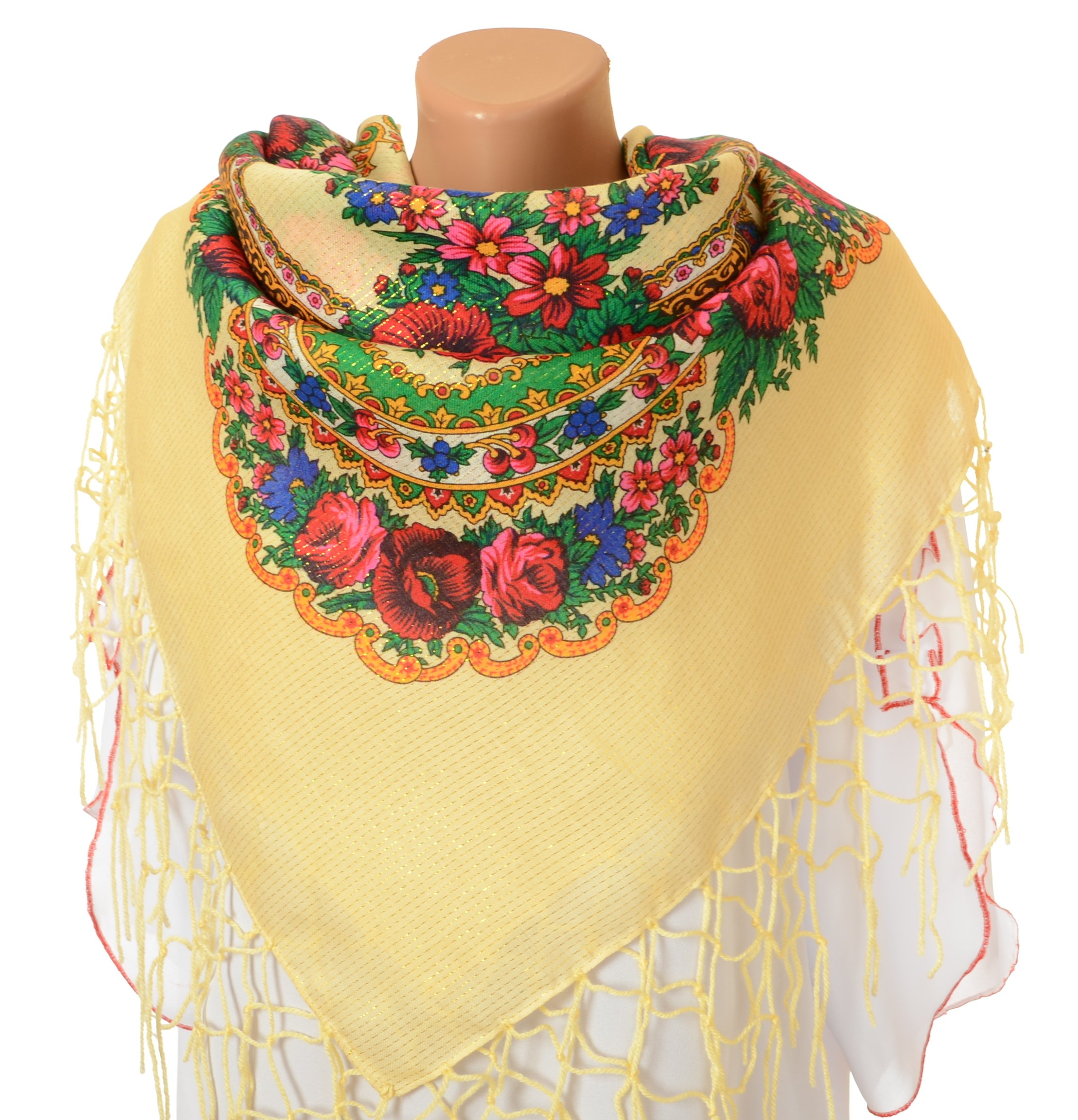 Scarf Wrap, Floral Shawl for Women, Traditional Ukrainian Polish Russian Style Neck Scarf, Fringed Vintage Head Scarf, A Thoughtful Birthday, Anniversary or Mother's Day Gift, 59 X 59 Inches by M&K Apparel