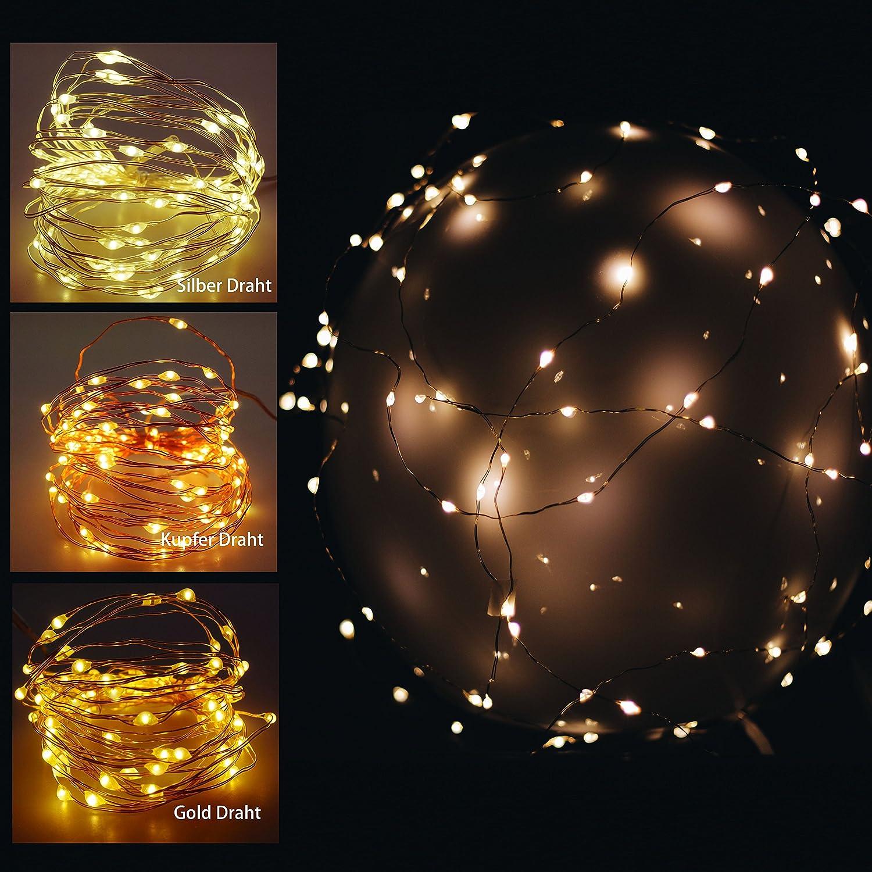 40 er LED Mikro Lichter auf Draht - silber - biegsame Lichterkette ...