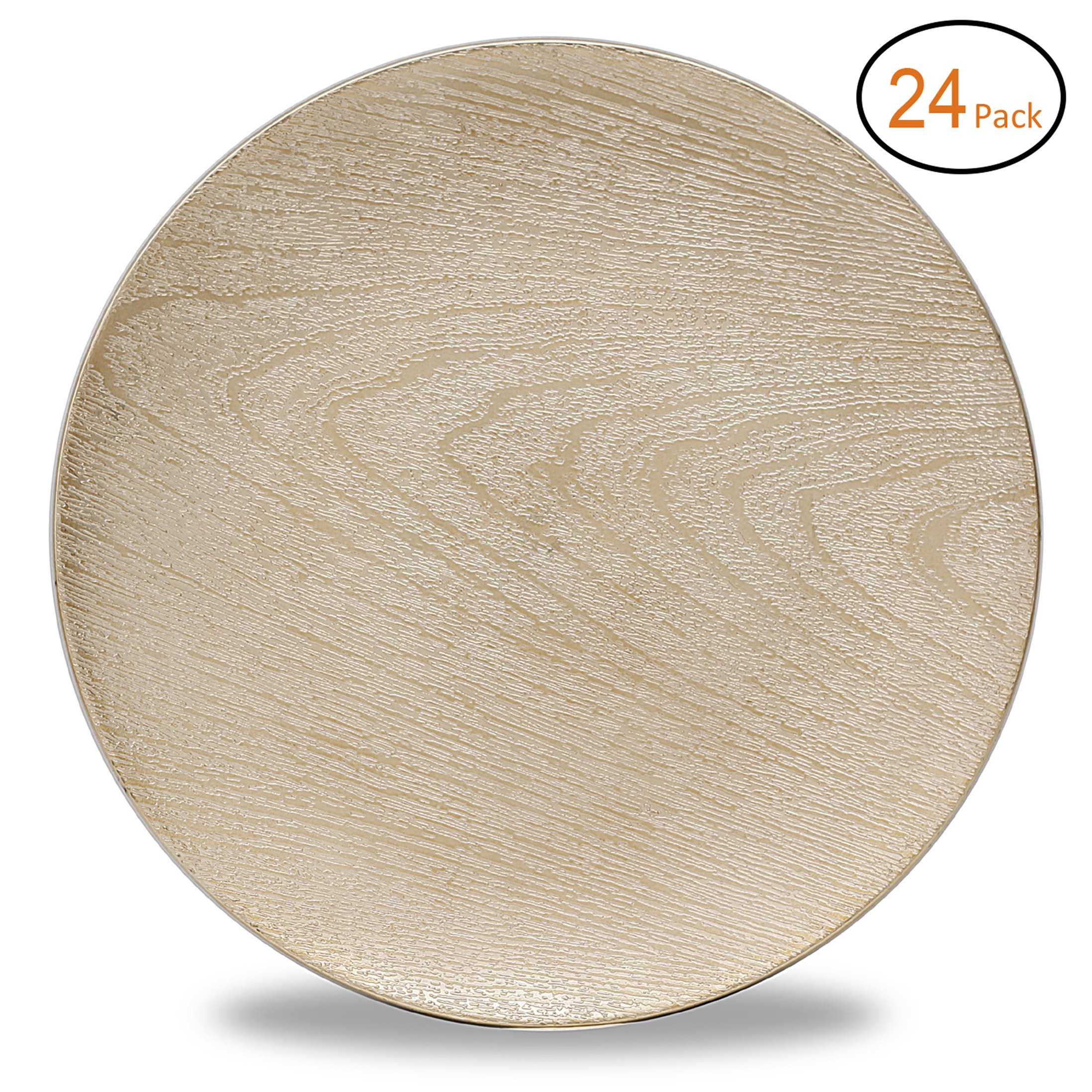 FANTASTIC :)  Round 13 Inch Plastic Charger Plates with Eletroplating Finish (24, Wood Gold)