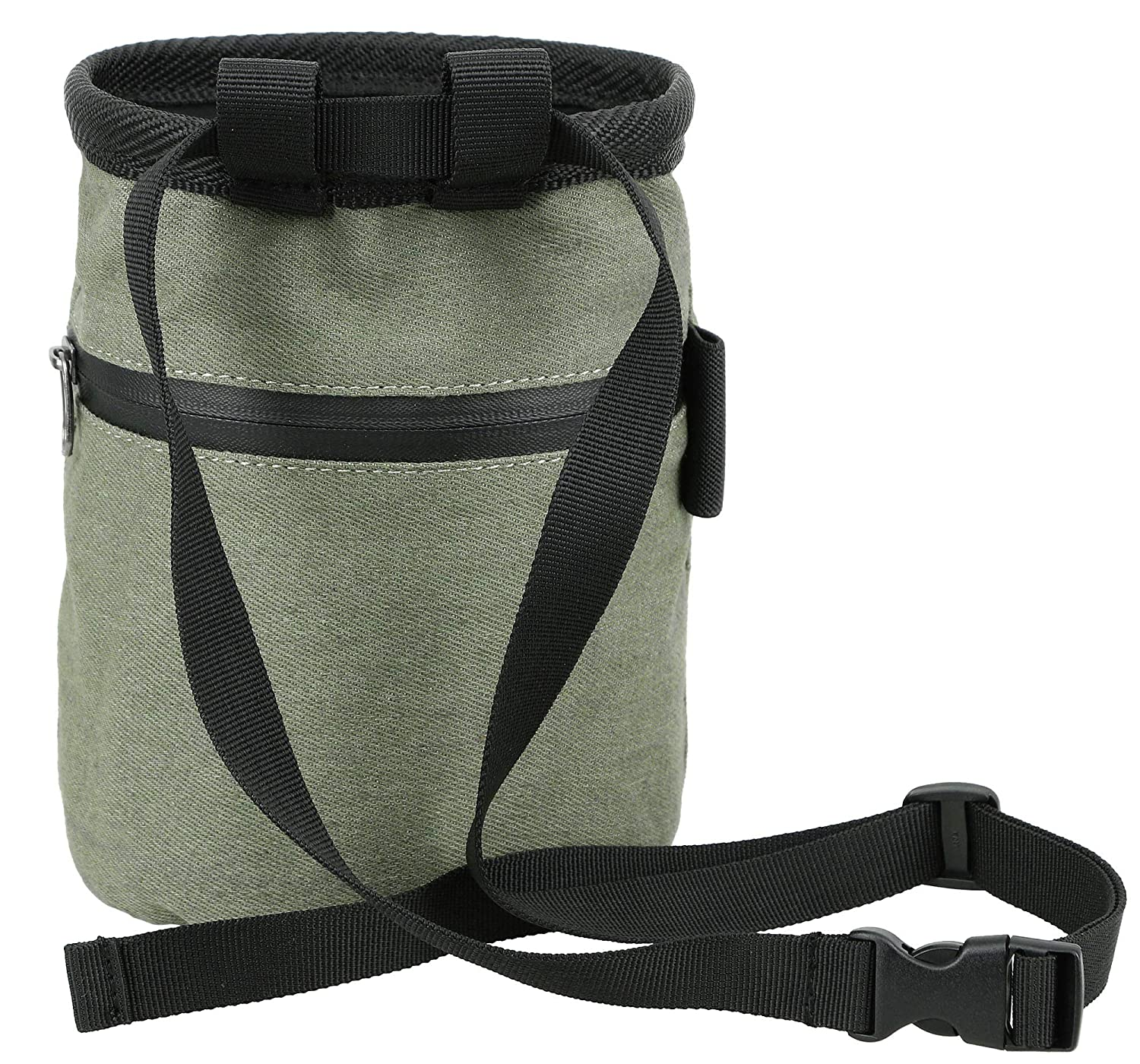 Crossfit Bouldering Gym Lifting FURST Denim Chalk Bag with Zippered Pocket and Brush Loop for Rock Climbing