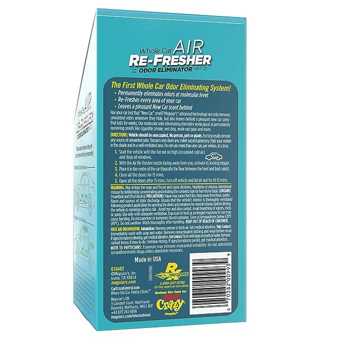 MEGUIAR'S G16402 Whole Air Re-Fresher Odor Eliminator Mist, New Car Scent,  1 Pack