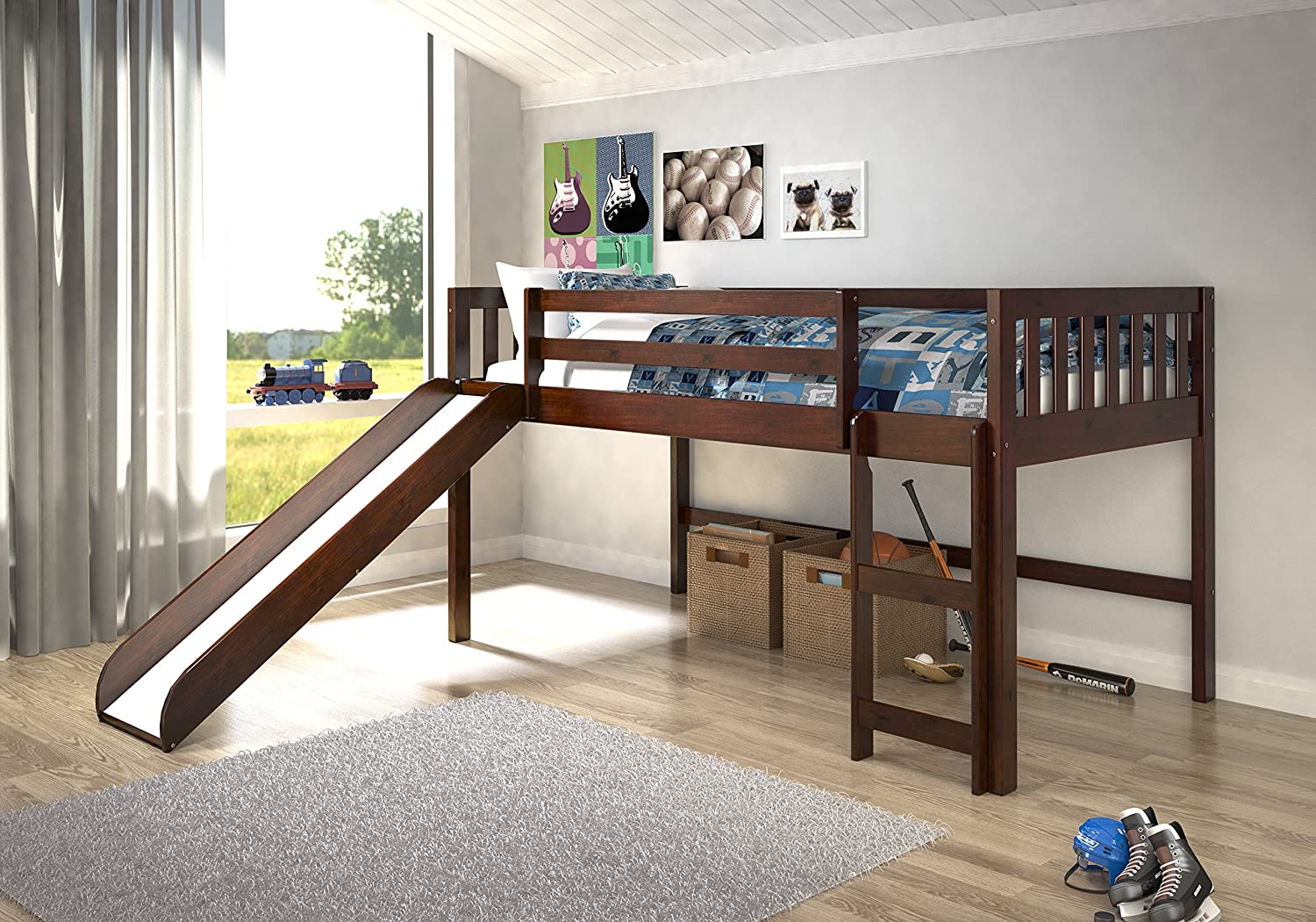 Twin Bed With Slide Part - 26: Amazon.com: Donco Trading Company 715-TCP Dark Cappuccino Twin Mission Low  Loft Bed With Slide: Kitchen U0026 Dining