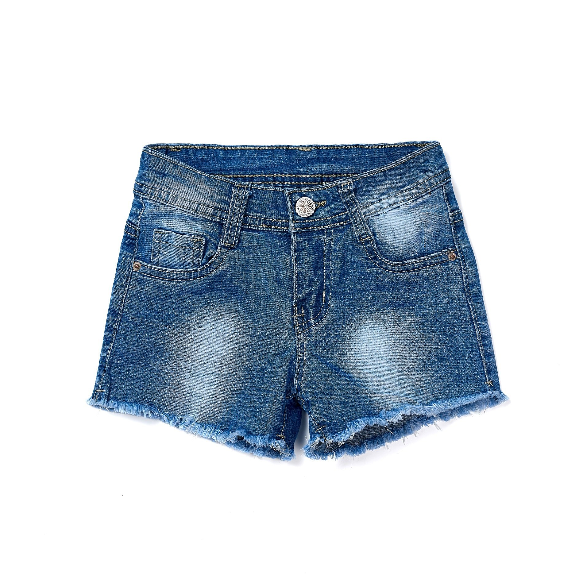 ISPED Girls Jean Shorts for Teen Girls Ripped Girls Shorts Summer Floral Embroided Denim Jean Shorts Size 14T