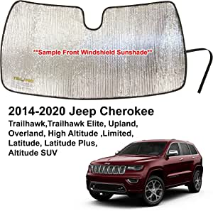 YelloPro Custom Fit Automotive Reflective Front Windshield Sunshade Accessories for 2014 2015 2016 2017 2018 2019 2020 Jeep Cherokee Trailhawk, Elite, Upland, Overland,Limited, Latitude, Altitude SUV