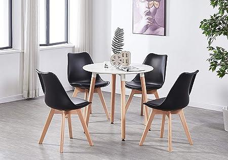 P&N Homewares Ensemble Table Blanche Ronde + 4 Chaises ...
