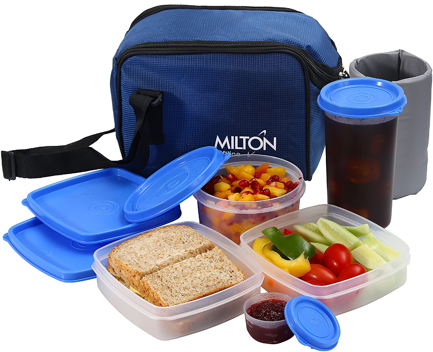 Insulated Lunch Bag Box Kit, Milton 5 Pc Set, Adults Men Women, Leakproof Airtight Containers Cooler Tote with Adjustable Shoulder Strap for Work School and Travel - Blue
