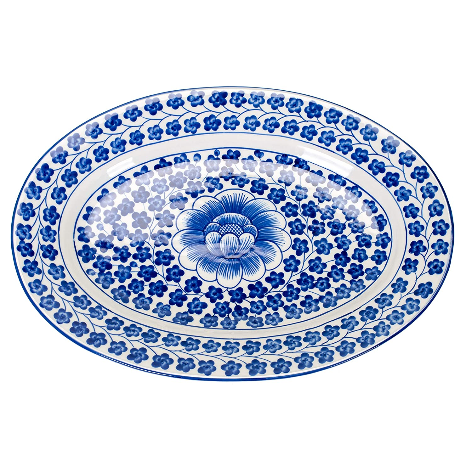 Sea Island Imports Elegant Porcelain Serving Platter with Blue and White Hand Painted Coriander Pattern Inc.