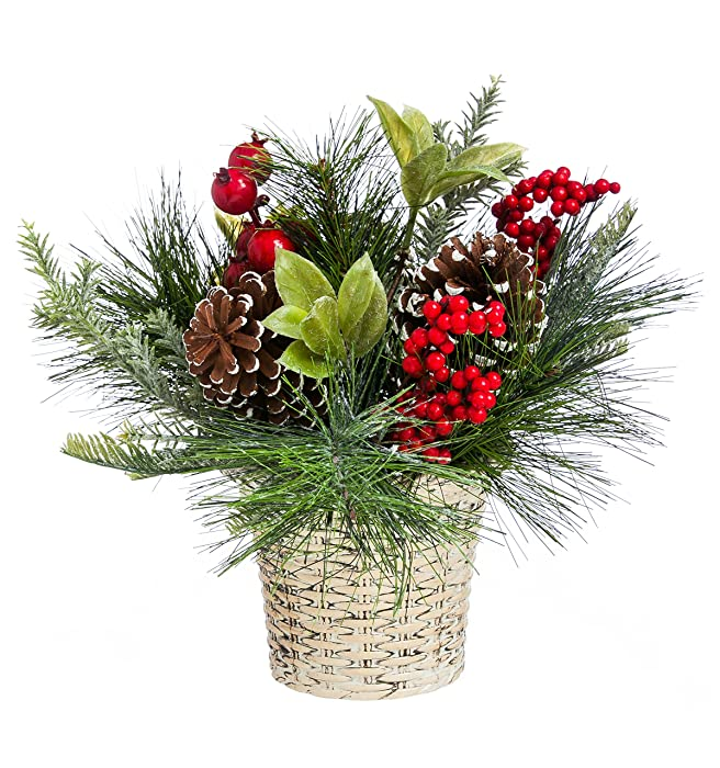 """Cypress Home Holly and Pinecone Tabletop Floral Decor 10"""" Tall"""