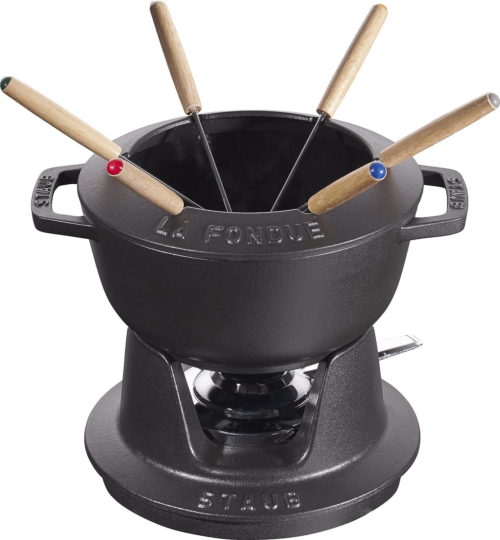 Staub 40511–971–0Matt Black Cast Iron Fondue Service Set 24.3x 18.7x 10cm 40511-971-0