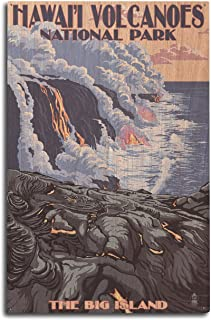 product image for The Big Island, Hawaii - Lava Flow Scene (10x15 Wood Wall Sign, Wall Decor Ready to Hang)