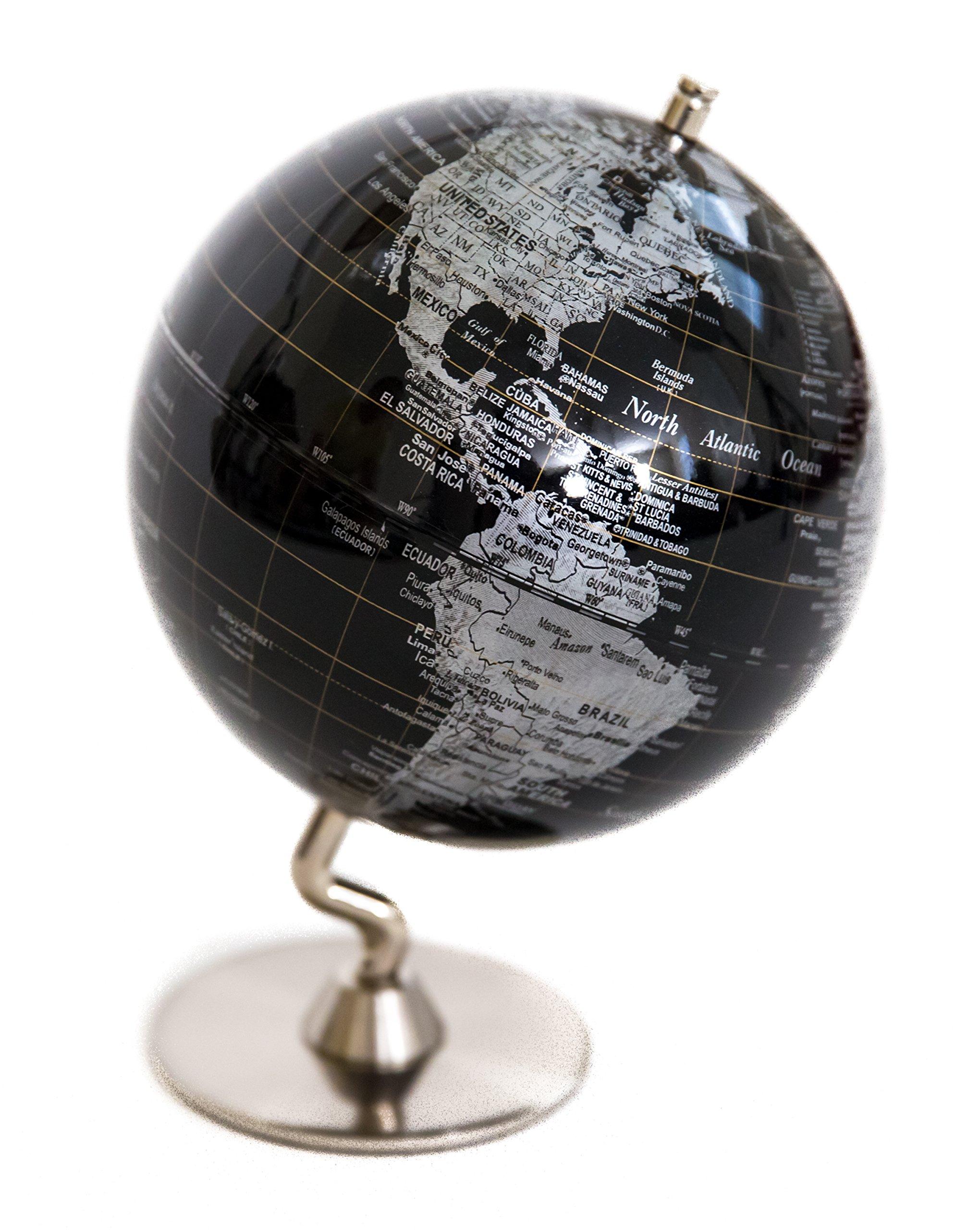 Black & Sliver Globe of The World 5''