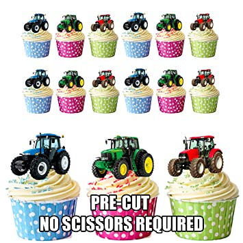 Tractor Cake Decorations   Edible Stand Up Cup Cake Toppers (Pack Of 12)
