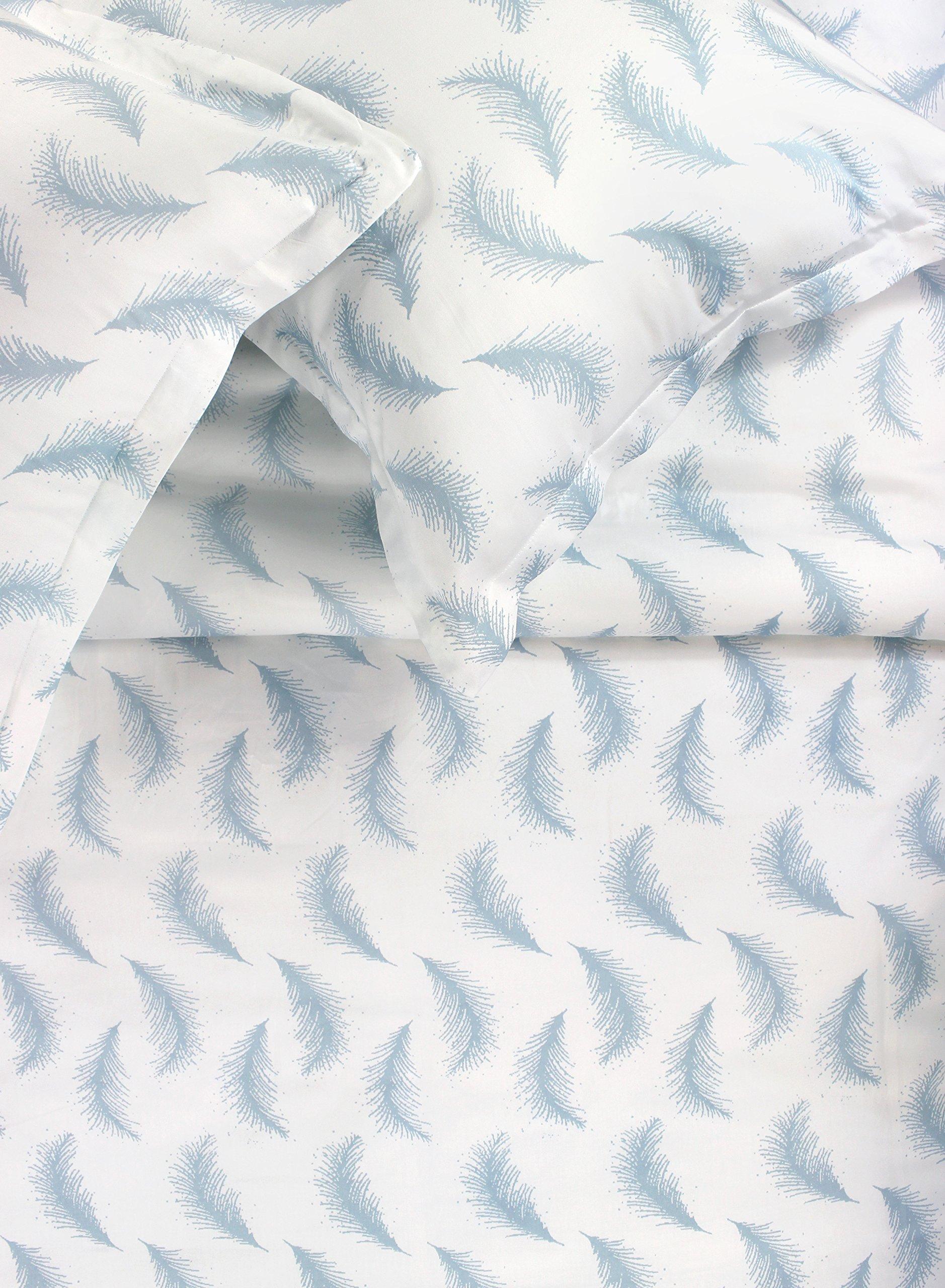 Melange Home 400TC Series Floating Feather, FULL/QUEEN DUVET SET, Blue/White