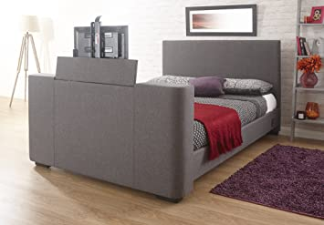 Home Source Electric Tv Bed Television 4ft6 Double Grey Fabric