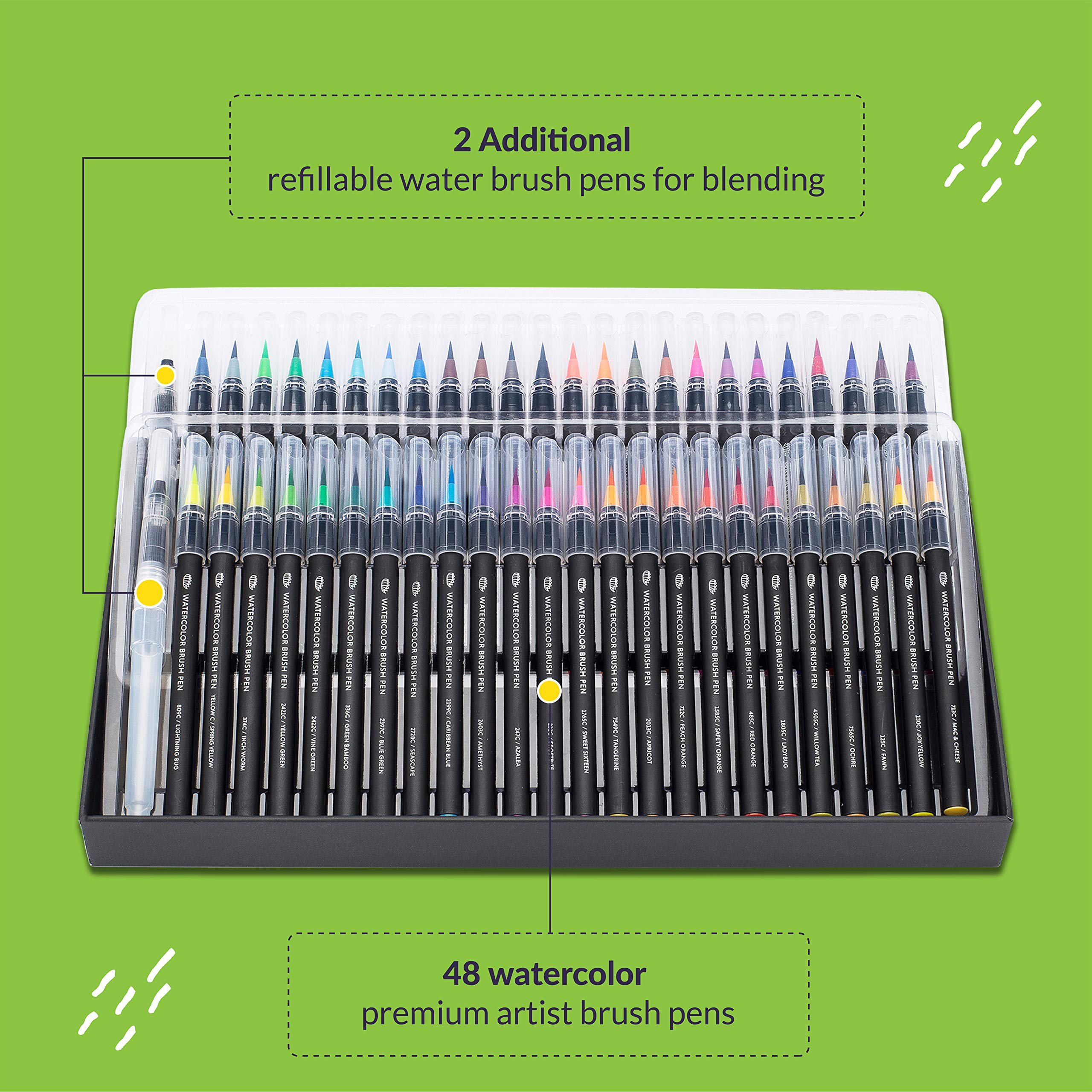 Gift Box, 48 Premium Watercolor Brush Pens, Highly Blend-Able, No Streaks, Water Color Markers, Unbelievable Value, Water Brush Pens For Beginner To Professional Artist by Dab and Dot Markers (Image #3)