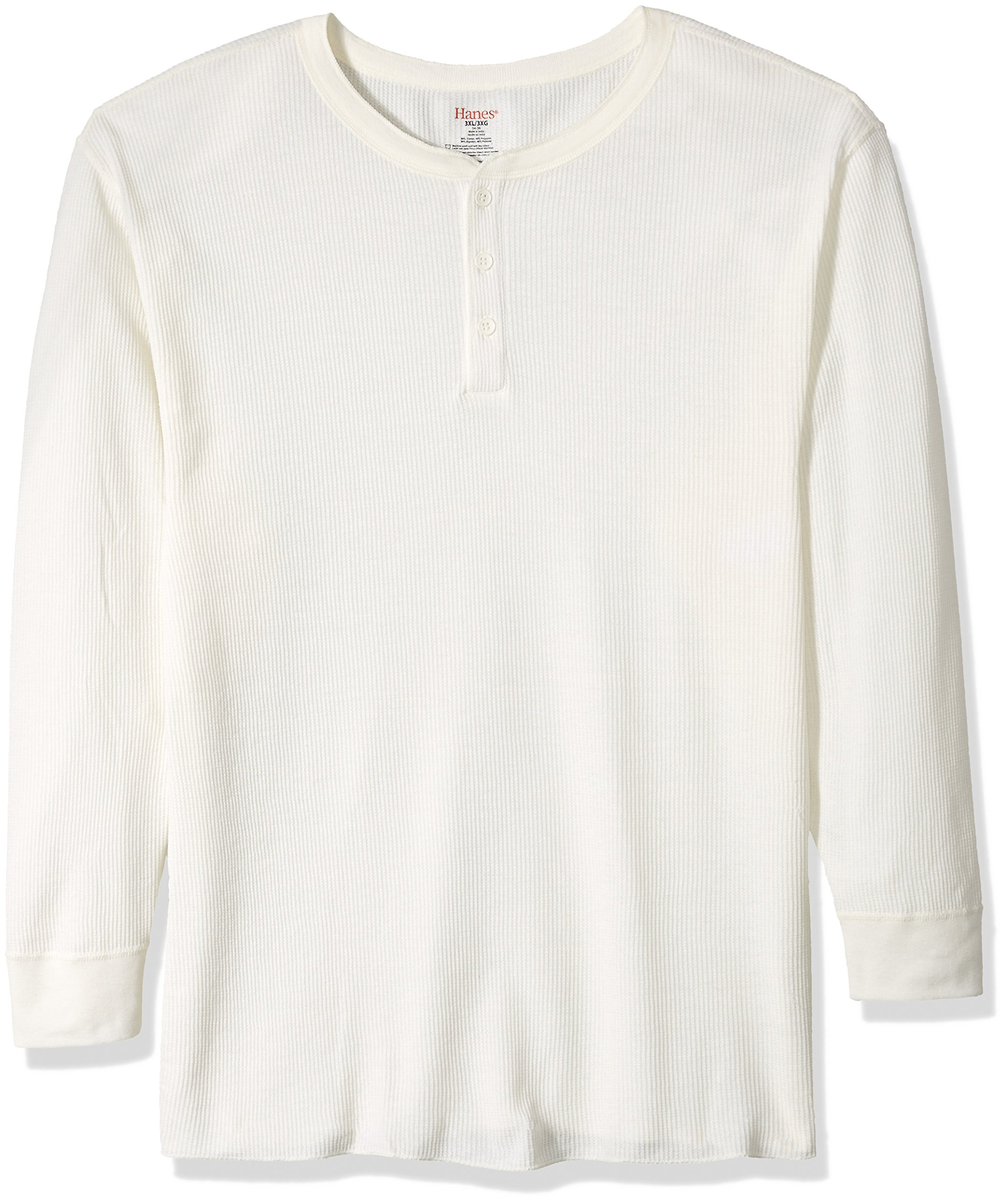 Hanes Tall Men's Big Red Label X-Temp Thermal Henley, Natural, 3X Large by Hanes