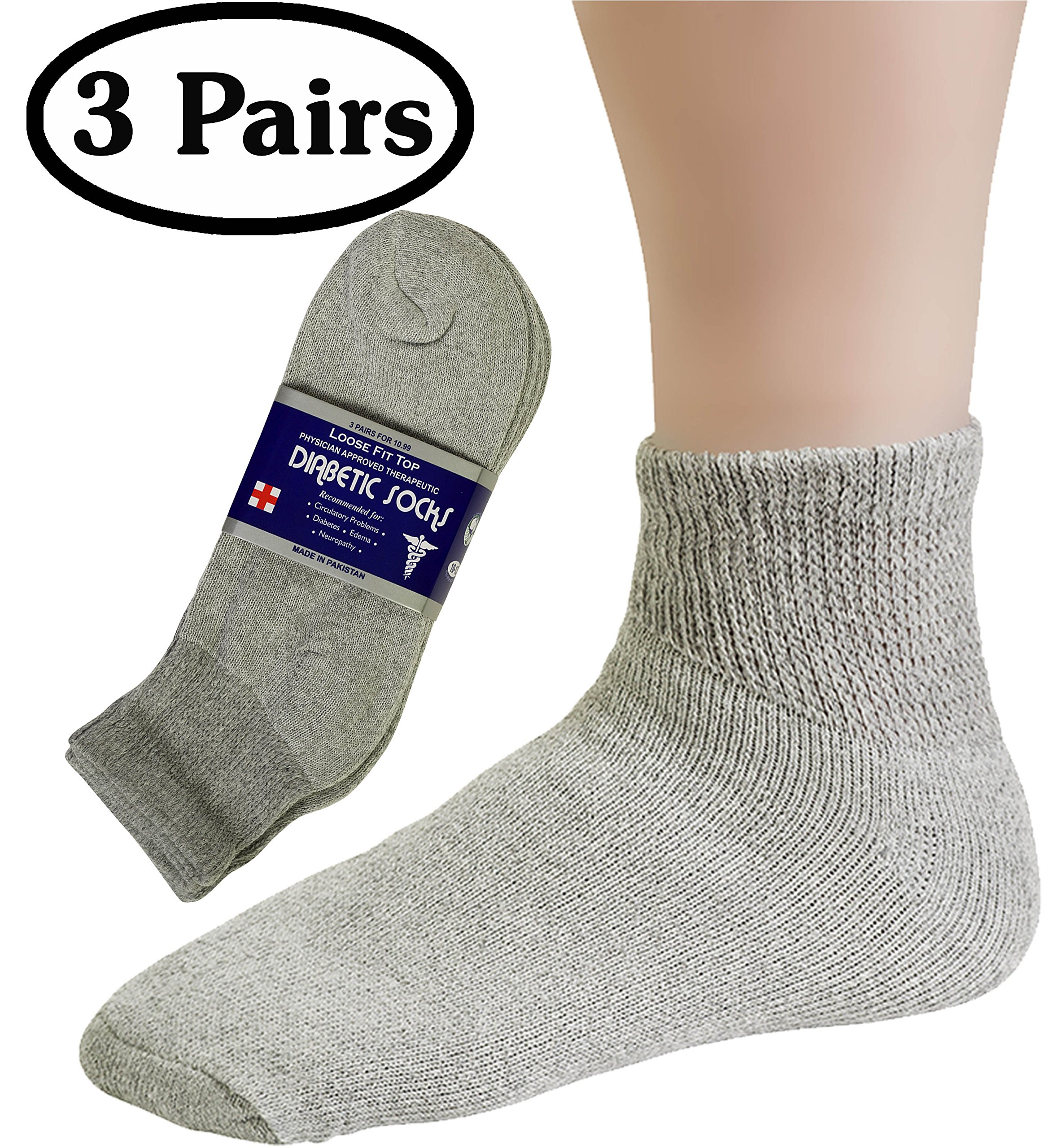 Amazon.com: Diabetic Mens Ankle Socks (3 Pack) 10-13, Gray