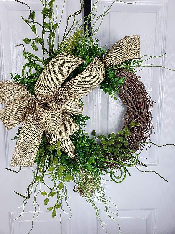 Front Door Wreath Greenery wreath Front Door Decor. New Beautiful Neutral Wreath Burlap Ribbon Wreath