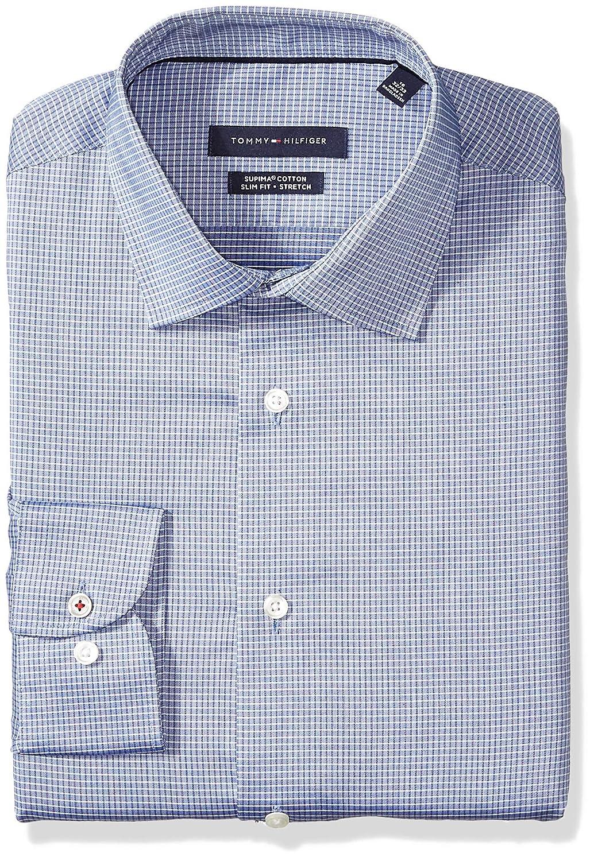 e714c9615 Tommy Hilfiger Men's Dress Shirt Stretch Slim Fit Check at Amazon Men's  Clothing store: