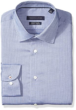 fe17ce6e Tommy Hilfiger Men's Dress Shirt Stretch Slim Fit Check at Amazon Men's  Clothing store: