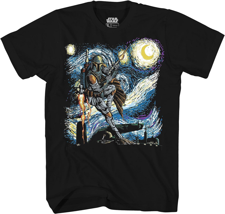 Mad Engine Star Wars Boba Fett Shirt Starry Night Men's Adult Graphic T-Shirt