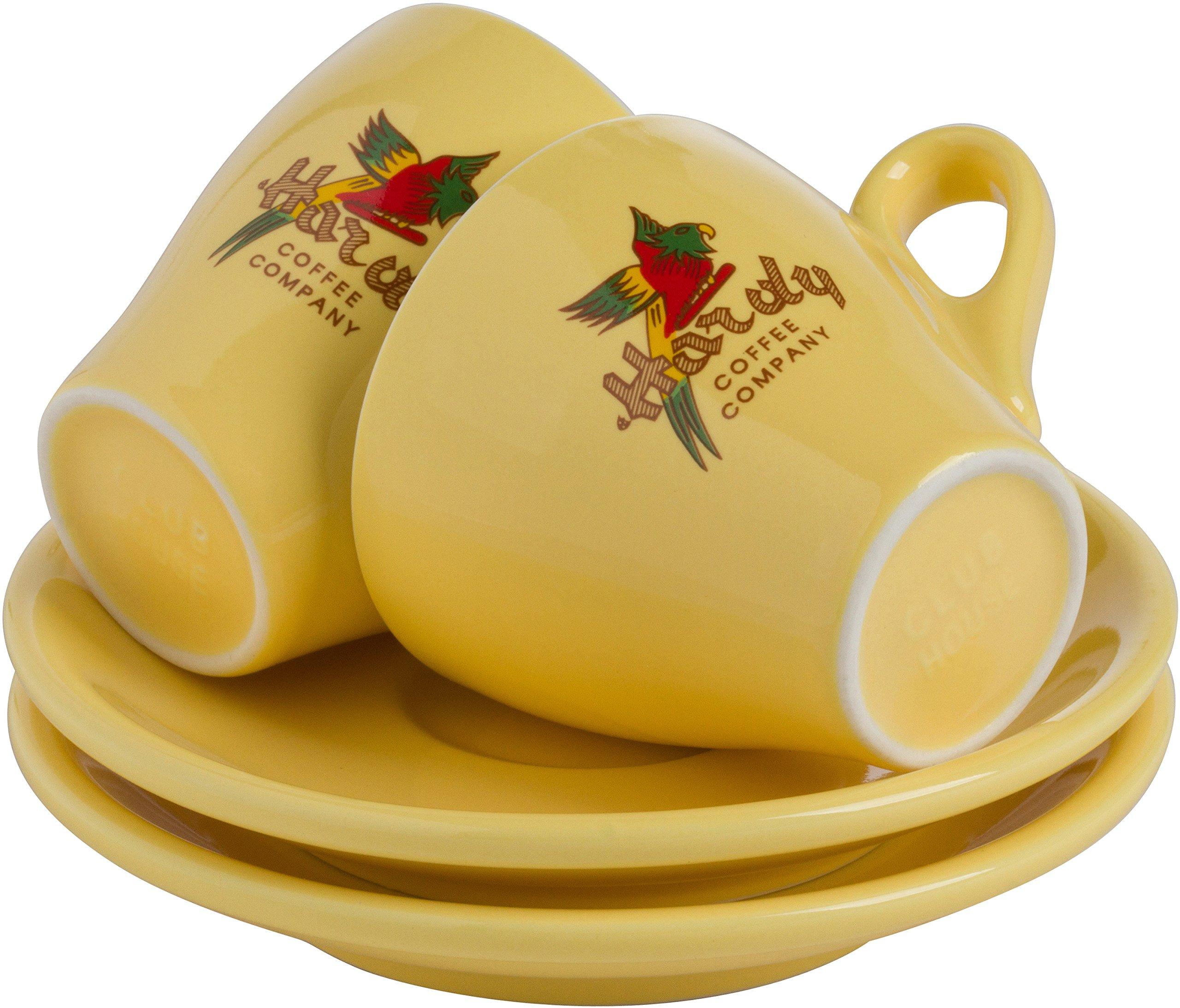 6 Retro Italian Espresso Cups with Saucers from Hardy Caffé, Milano (Yellow, Espresso)