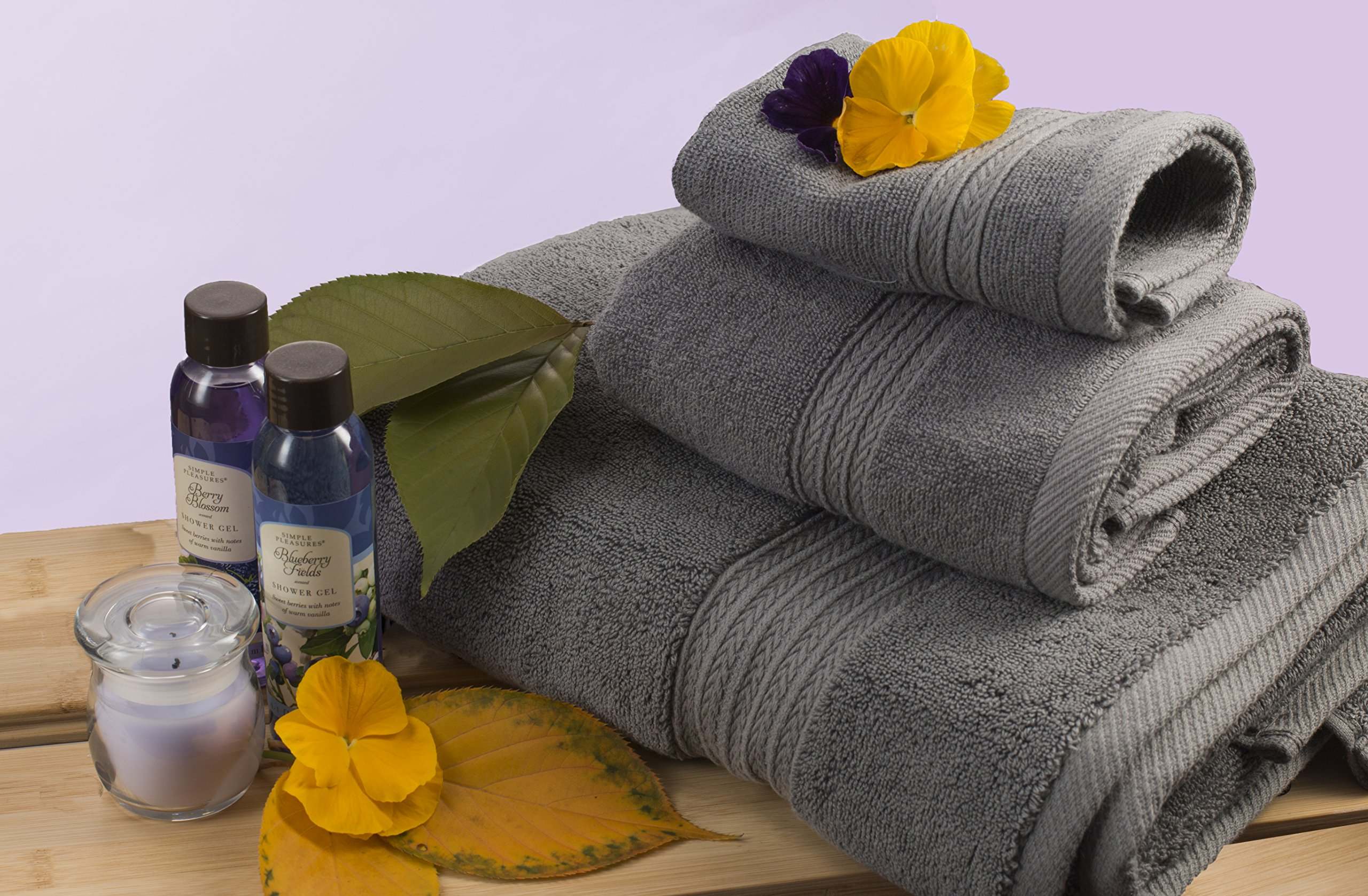 TowelPro Luxury Premium Soft 100% Woven Cotton Highly Absorbent Machine Washable Multi-Purpose, Hotels, Spa, Home Towels Set of 10-2 Bath Towels, 2 Hand Towels, 6 Wash Cloths (Gray)