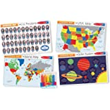 Melissa & Doug Advanced Subject Skills Placemat Set: United States, Presidents, Countries of the World, and Planets