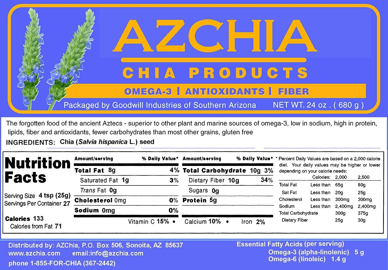 azchia Conjunto Negro Chia semillas – 1,5 Lb (24 oz): Amazon ...