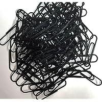 100 Black Metal Paper Clips 30mm