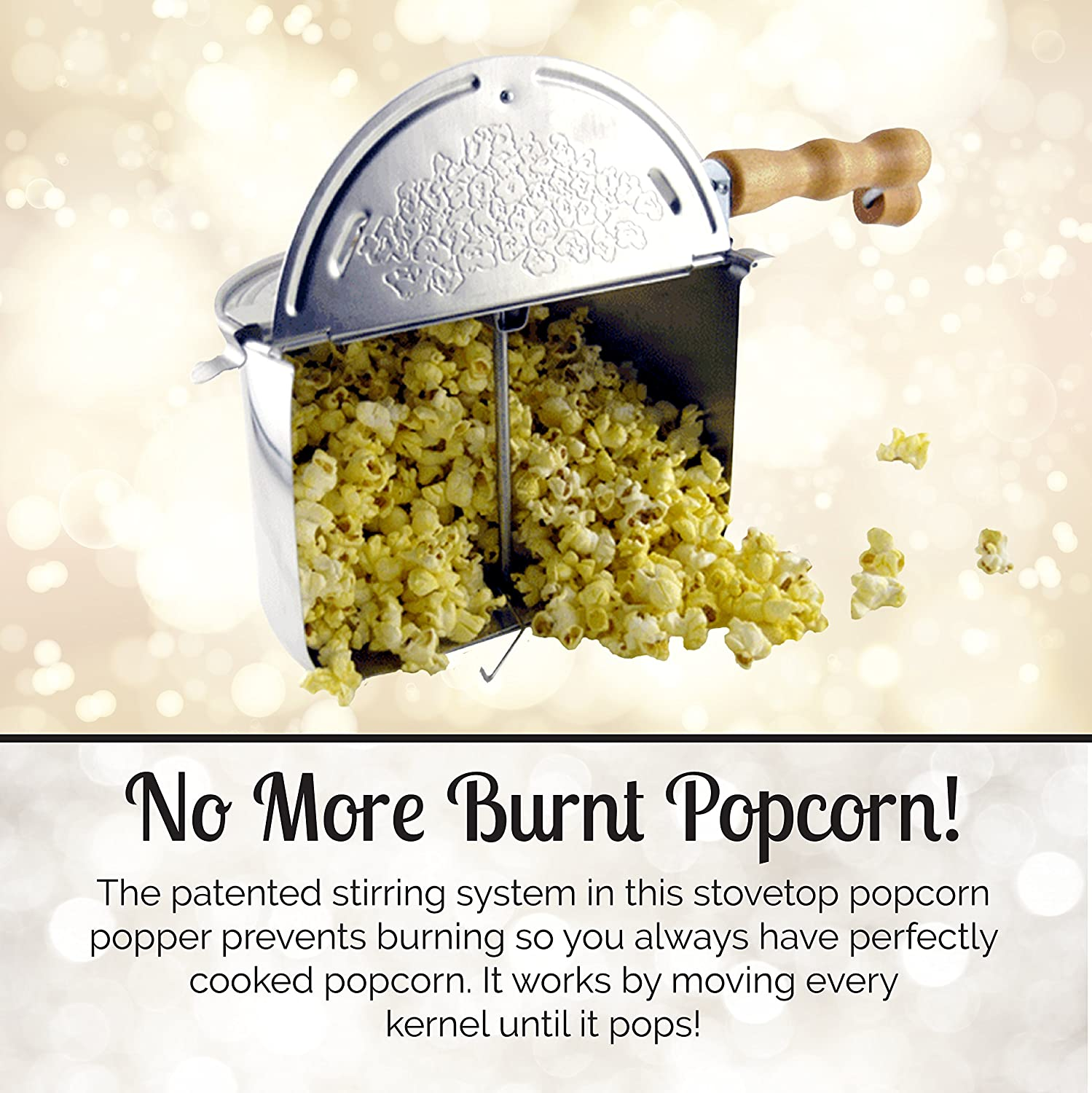 Original Wabash Valley Farms Whirley Pop Silver Stovetop Popcorn Popper - Perfect Popcorn in 3 Minutes, Makes a Great Gift COMINHKPR94568