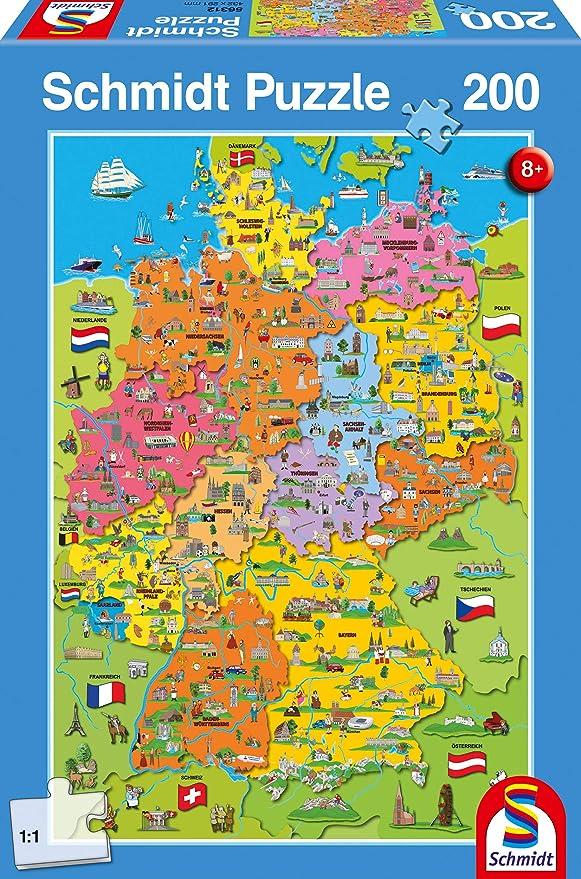 Schmidt Spiele 56312 - Puzzle (200 Piezas), diseño de Mapa de ...