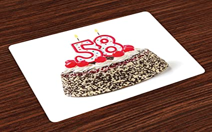 Ambesonne 58th Birthday Place Mats Set Of 4 Cake Photograph With Cherries And Yummy