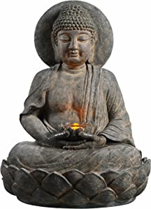 "Peaktop 201607PT Outdoor Indoor Floor Buddha Zen Statue Water Fountain with LED Light and Pump for Patio Garden Backyard Decking, 28"", Gray"