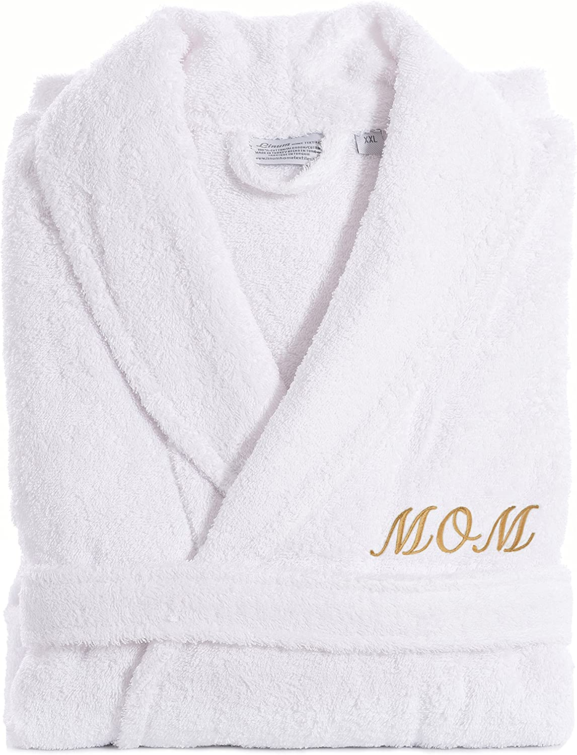 Linum Home Textiles TR00-XX-MOMG White Terry Bathrobe for MOM, XX-Large, Gold Embroidery