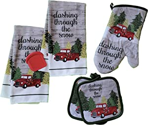 Christmas Themed Red Pickup Truck 5 Piece Kitchen Linen Set - Towels, Potholders and Oven Mitt