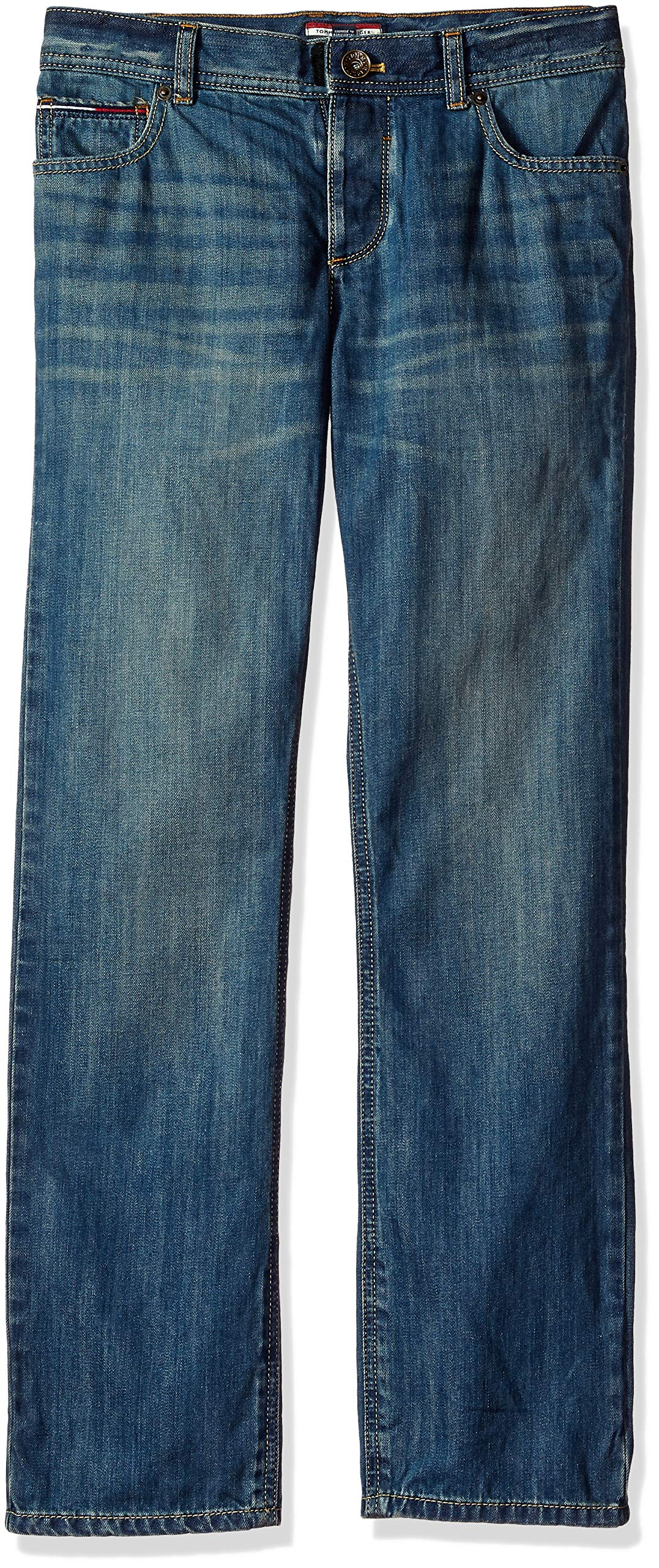 Tommy Hilfiger Boys' Adaptive Jeans Slim Straight Fit with Adjustable Waist and Hems, JONAH wash RINT 12