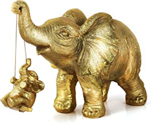 Golden Elephant Statues Decor Gift for Mom, Elephant Figurines Collection, Elephant Home Decoration, Ideal Gift for Mother Father Love Collectible Animal Sculpture for Living Room & Bedroom