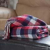 Lavish Home Throw Blanket - Cashmere-Like, Red/Blue/White, 50 x 60