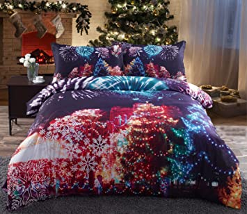Amazoncom Alicemall Colorful Christmas Bedding 3d Multi Color