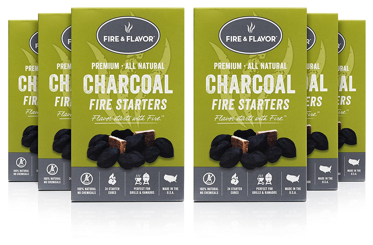 Fire & Flavor Premium All Natural Charcoal Fire Starters, 24 Count, Pack of 6