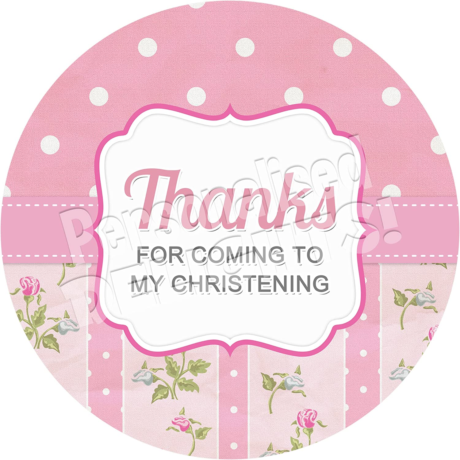 Polka Dots Pink Sticker Labels for Party Bag Sweet Cones