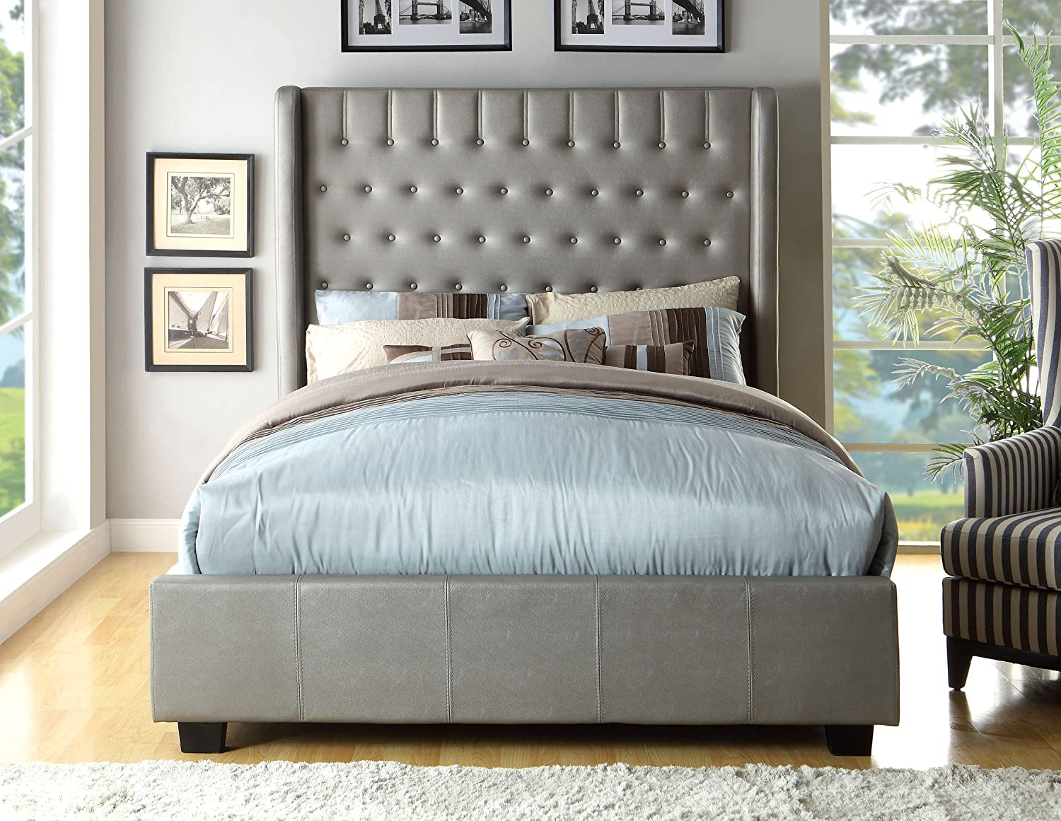 Amazon com  Furniture of America Minka Leatherette Platform Bed with High  Panel Headboard  Eastern King  Silver  Kitchen   Dining. Amazon com  Furniture of America Minka Leatherette Platform Bed